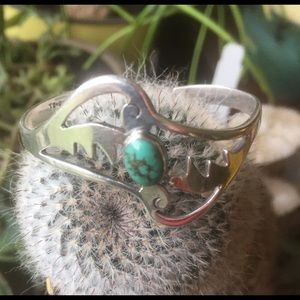 Jewelry - Vintage Taxco Silver and Turquoise Cuff Bracelet.